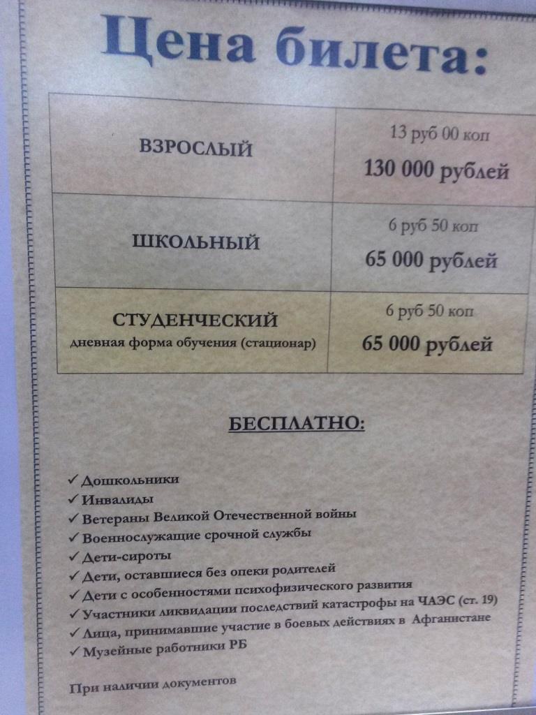 Ціни на вхідні квитки у несвіжський замок