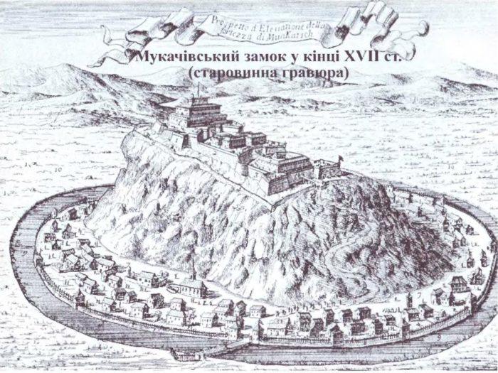 Мукачывський замок кынець XVII століття - старовинна гравюра